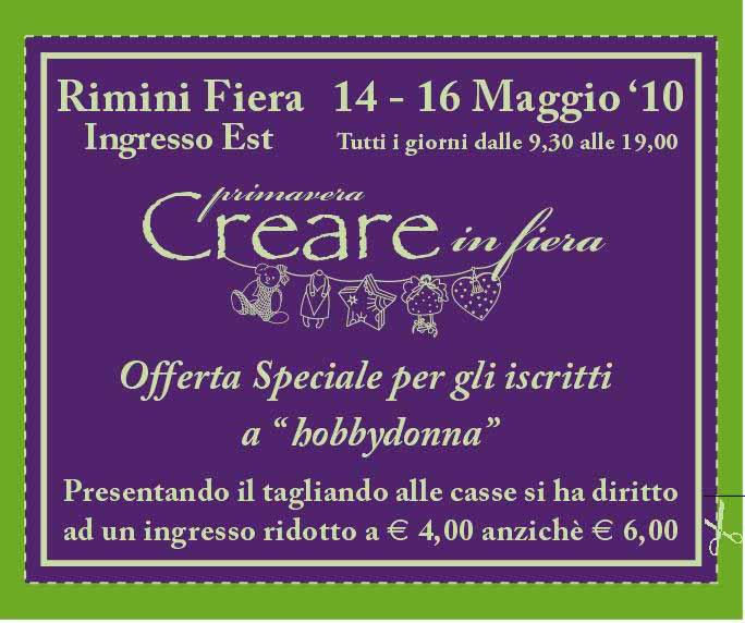 Tagliando per il biglietto ridotto di Creare in Fiera - Rimini