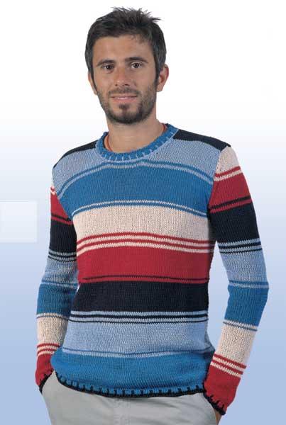 l'ultimo 43d95 183a4 Tutorial con schema per lavorare un maglione a righe per uomo ...