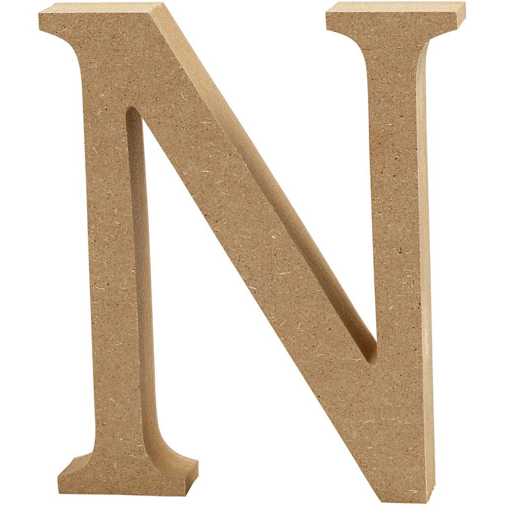 Lettere e numeri in legno MDF : Lettera in legno MDF 13h N
